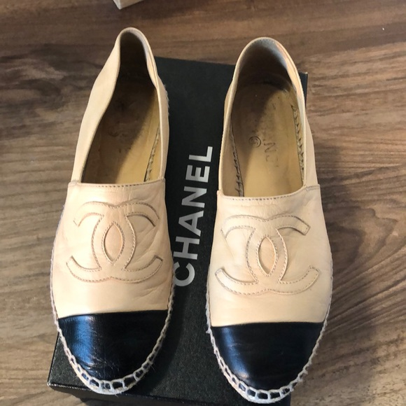 573f2206b CHANEL Shoes | Beige And Black Leather Espadrilles | Poshmark